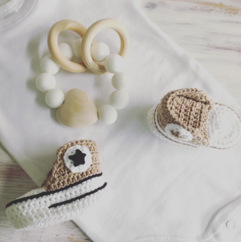 Crochet Baby Booties- FAWN