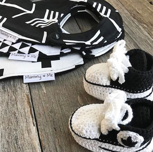 Crochet Baby Booties- WHITE & BLACK