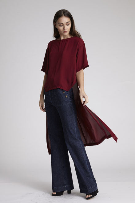 TAYLOR TAIL TOP - CURRANT
