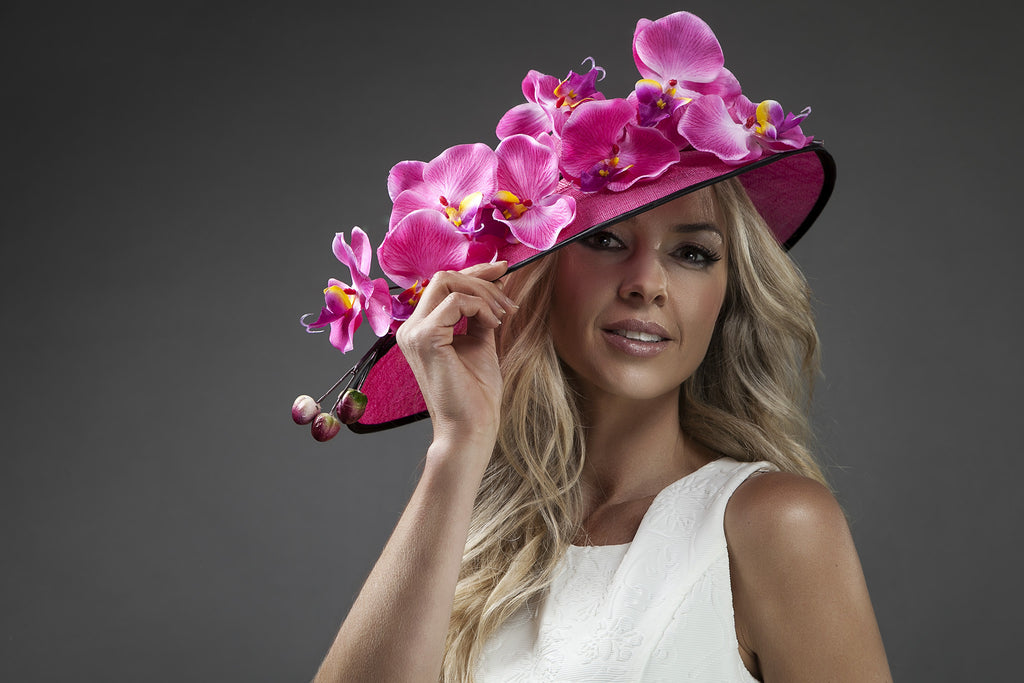 Pink Sinamay hat with orchards