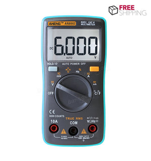 Multimeter AC/DC Current Voltage Frequency Resistance Temperature Tester ℃/℉ Digital True RMS 6000 Counts