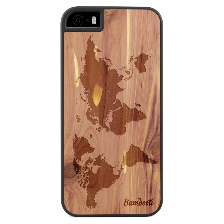 iPhone 5(s)/SE Wood Slim Case Cedar World Map