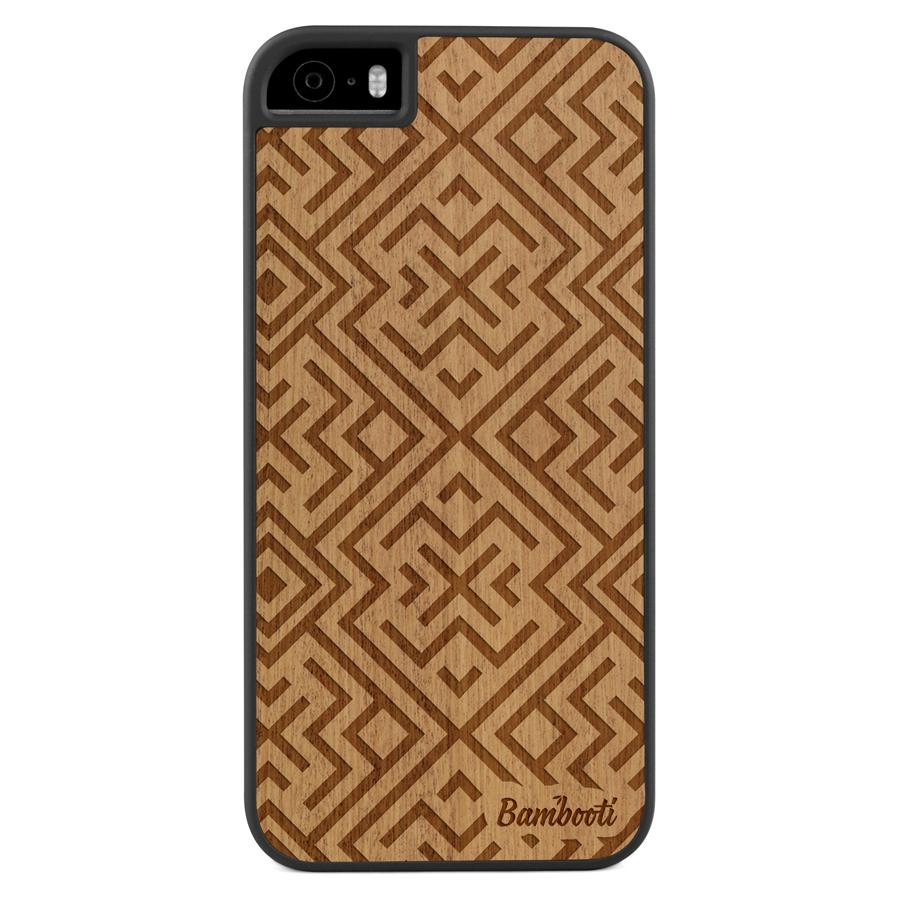 iPhone 5(s)/SE Wood Slim Case Mahogany Aztec