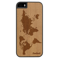 iPhone 5(s)/SE Wood Slim Case Mahogany World Map