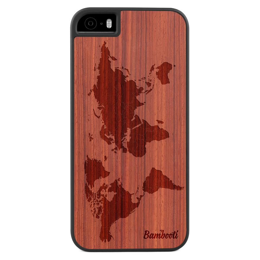 iPhone 5(s)/SE Wood Slim Case Padauk World Map
