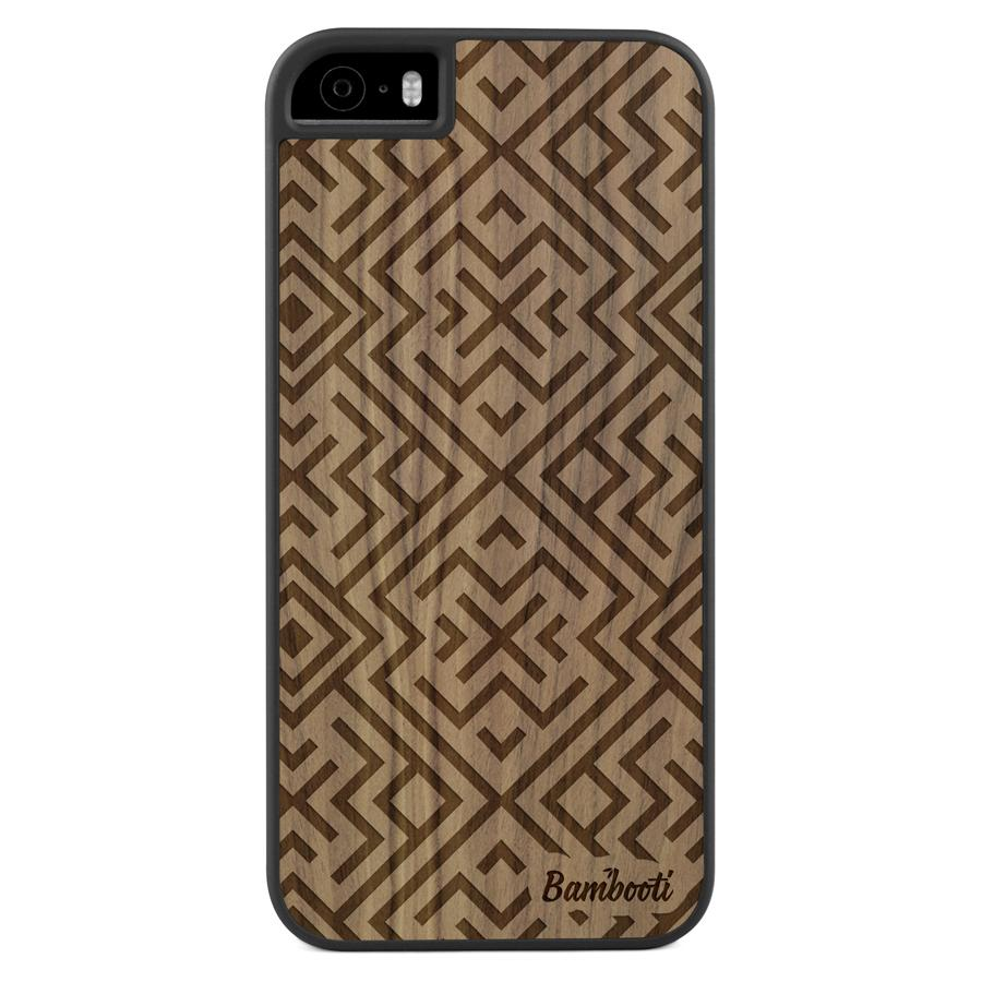 iPhone 5(s)/SE Wood Slim Case Walnut Aztec
