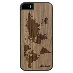 iPhone 5(s)/SE Wood Slim Case Walnut World Map