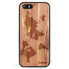 iPhone 5(s)/SE Wood Protective Case Cedar World Map