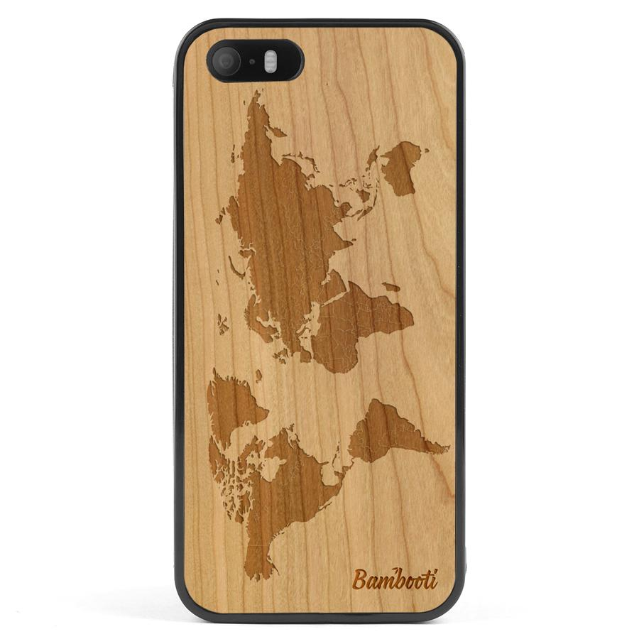 iPhone 5(s)/SE Wood Protective Case Cherry World Map