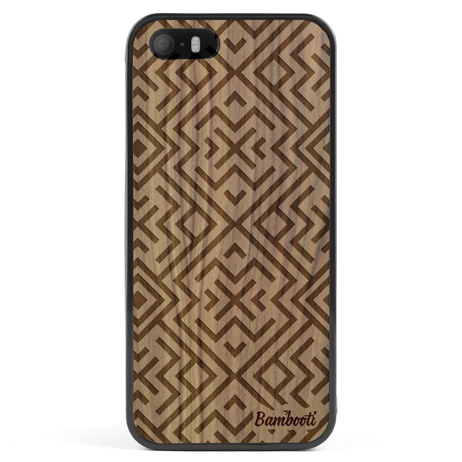 iPhone 5(s)/SE Wood Protective Case Walnut Aztec
