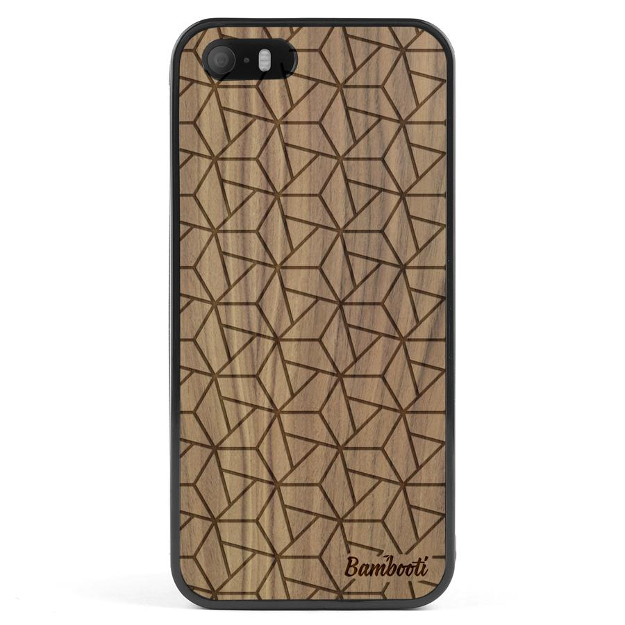 iPhone 5(s)/SE Wood Protective Case Walnut Triopus