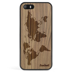 iPhone 5(s)/SE Wood Protective Case Walnut World Map