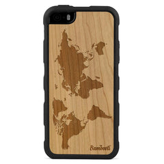 iPhone 5(s)/SE Wood Impact Case Cherry World Map
