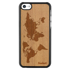 iPhone 5c Wood Slim Case Mahogany World Map