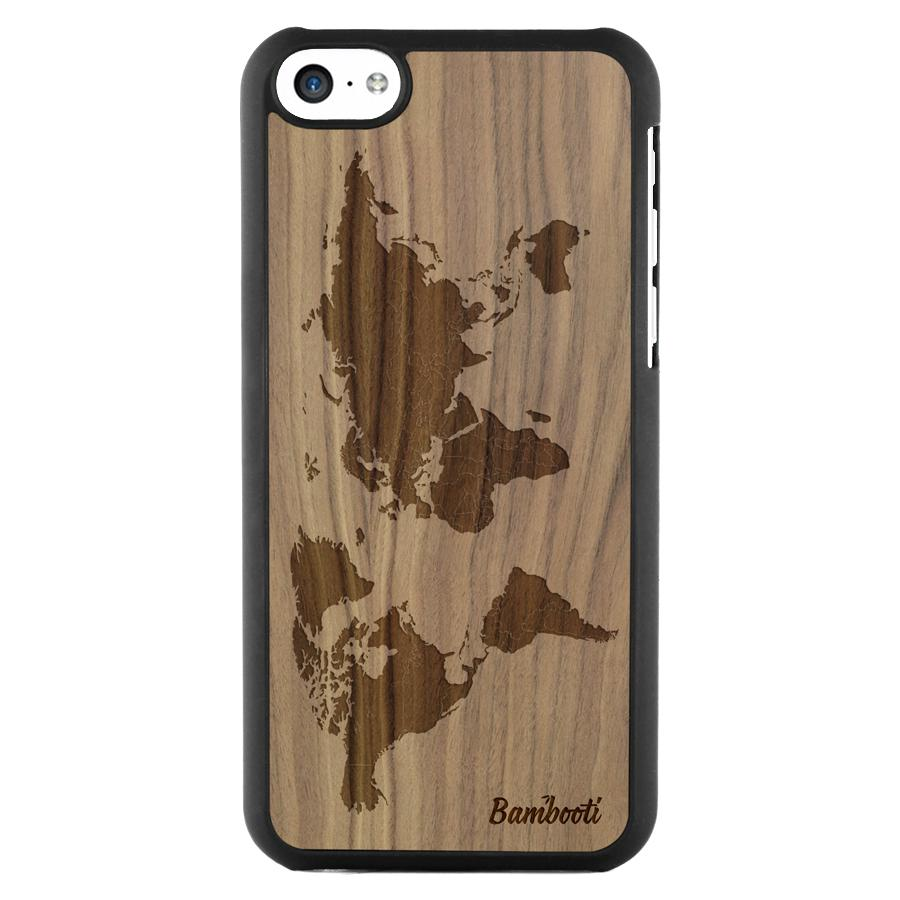 iPhone 5c Wood Slim Case Walnut World Map