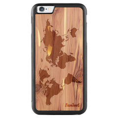 iPhone 6(s) Plus Wood Protective Case Cedar World Map