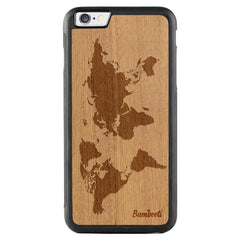 iPhone 6(s) Plus Wood Protective Case Mahogany World Map