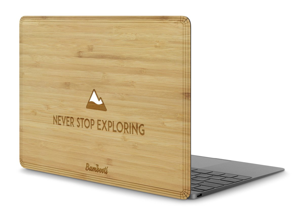 "MacBook 12"" Wood Cover Bamboo Never Stop Exploring"