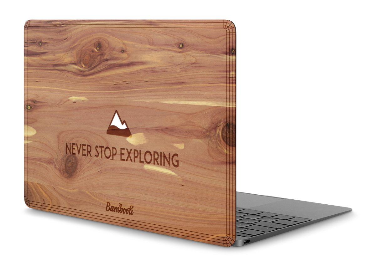 "MacBook 12"" Wood Cover Cedar Never Stop Exploring"