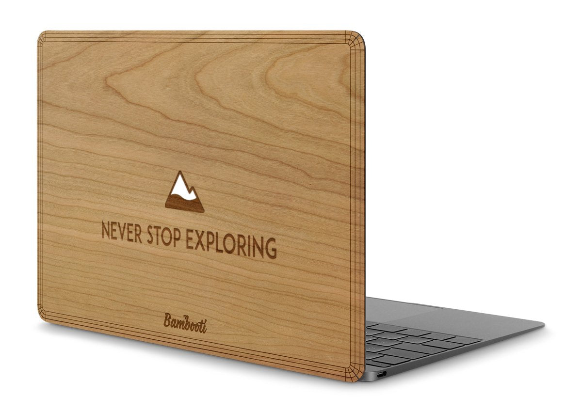 "MacBook 12"" Wood Cover Cherry Never Stop Exploring"