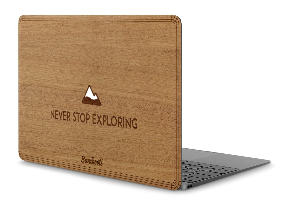 "MacBook Pro 15"" Retina 2016/2017 Touchbar Wood Cover Mahogany Never Stop Exploring"