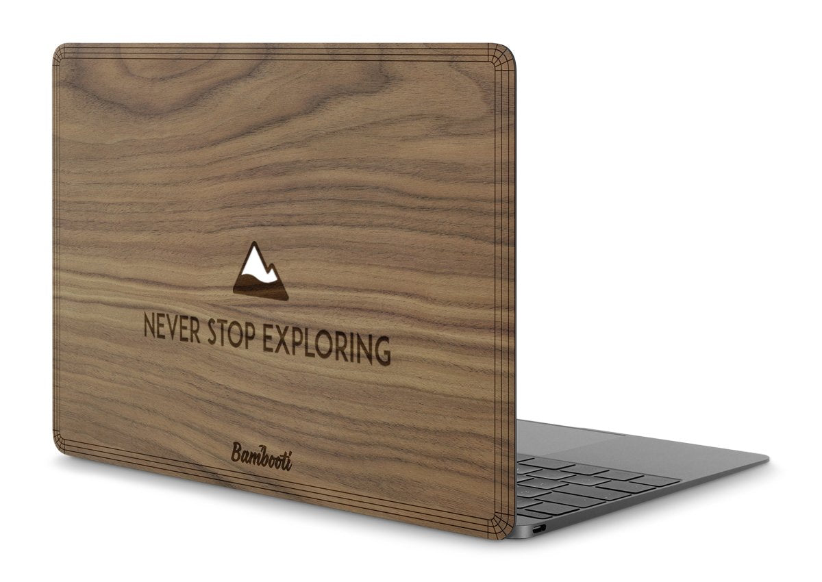 "MacBook Pro 15"" Retina 2016/2017 Touchbar Wood Cover Walnut Never Stop Exploring"