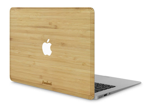 "MacBook Air 11"" Wood Cover Bamboo Apple Cutout"