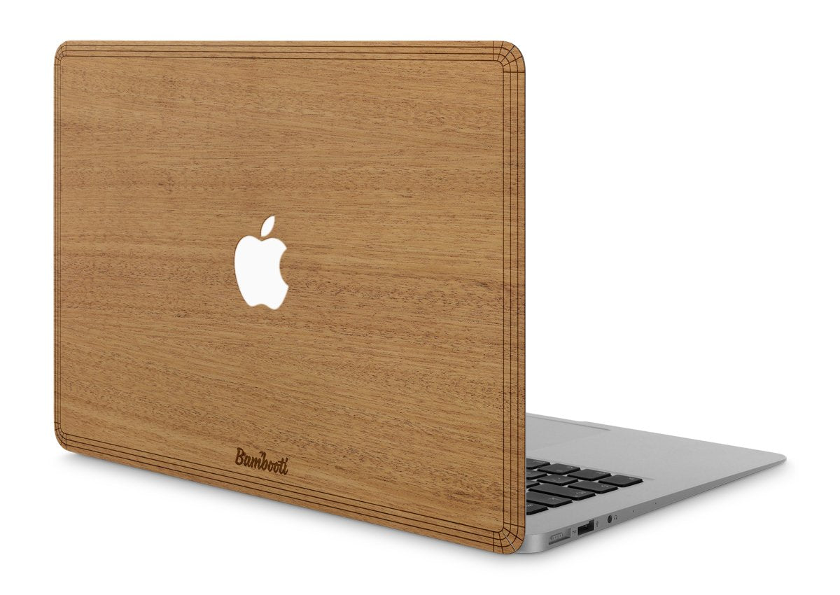 "MacBook Pro 13"" Wood Cover Mahogany Apple Cutout"