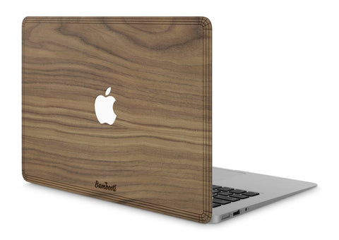 "MacBook Air 11"" Wood Cover Walnut Apple Cutout"
