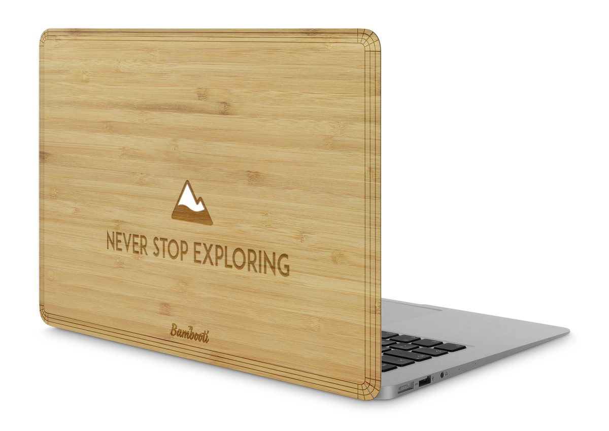 "MacBook Pro 15"" Retina Wood Cover Bamboo Never Stop Exploring"