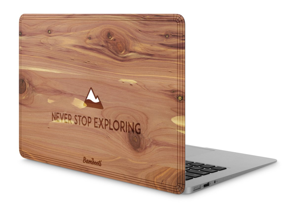 "MacBook Pro 15"" Retina Wood Cover Cedar Never Stop Exploring"