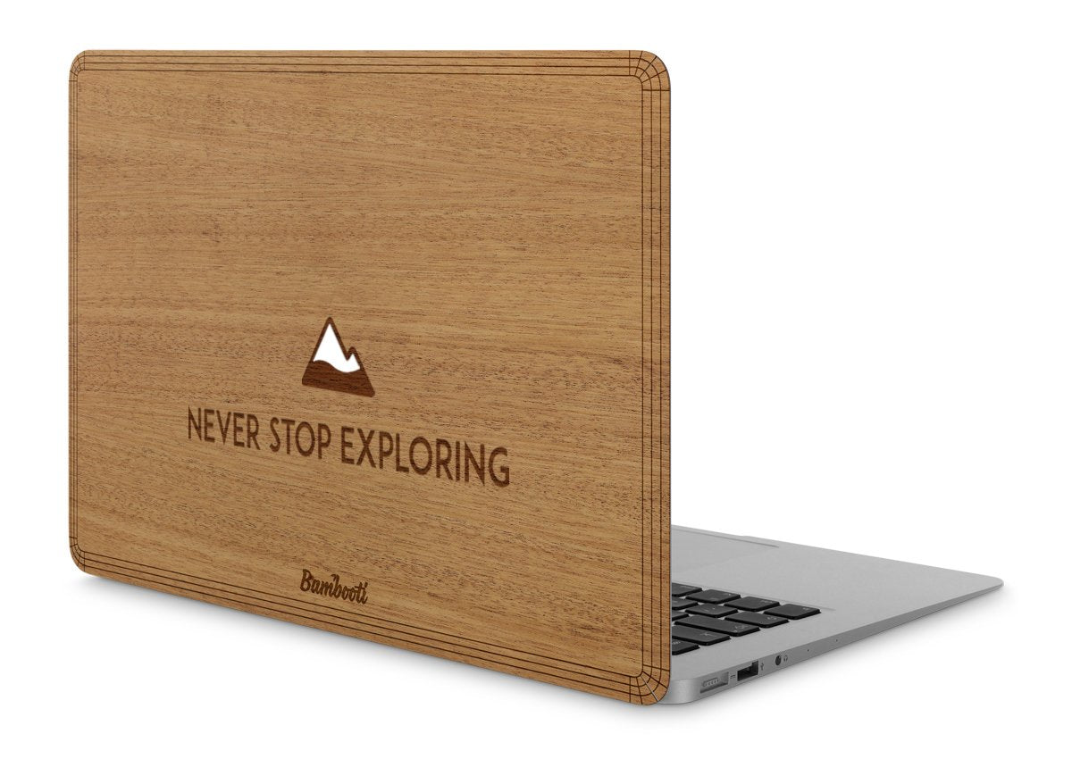 "MacBook Pro 15"" Retina Wood Cover Mahogany Never Stop Exploring"