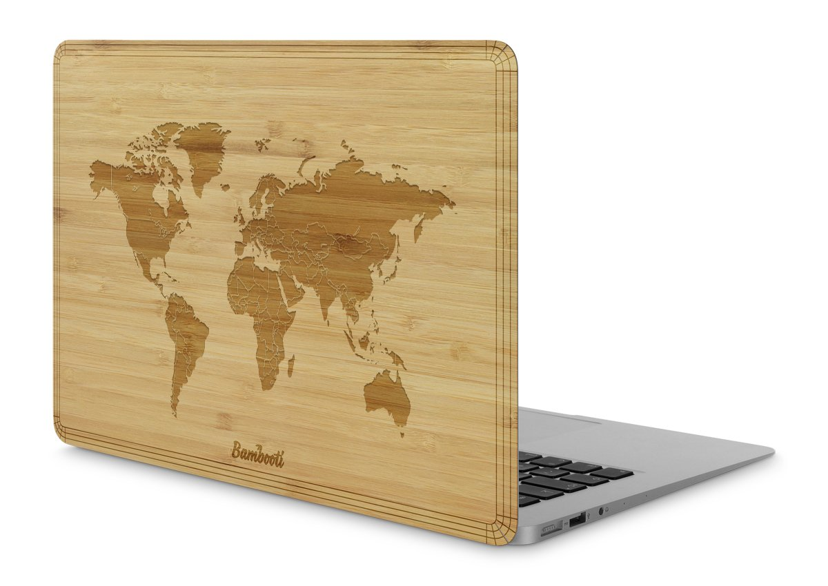 "MacBook Pro 15"" Wood Cover Bamboo World Map"