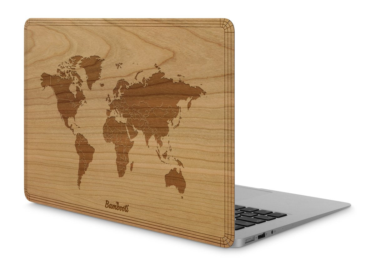 "MacBook Pro 15"" Wood Cover Cherry World Map"
