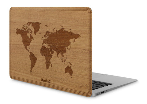 "MacBook Air 11"" Wood Cover Mahogany World Map"