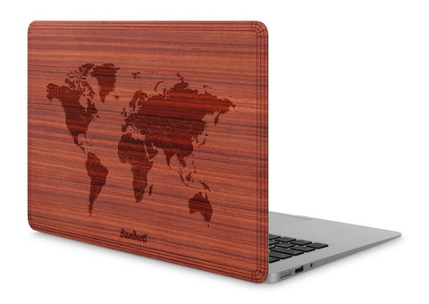 "MacBook Air 11"" Wood Cover Padauk World Map"