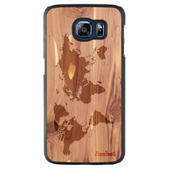 Galaxy S6 Wood Slim Case Cedar World Map