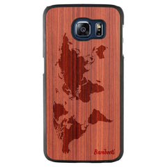 Galaxy S6 Wood Slim Case Padauk World Map