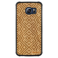 Galaxy S6 Edge Wood Slim Case Cherry Aztec