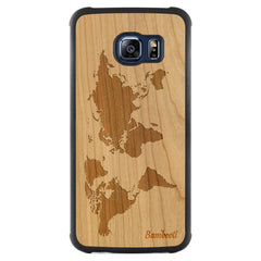 Galaxy S6 Edge Wood Slim Case Cherry World Map