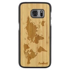Galaxy S7 Wood Slim Case Bamboo World Map
