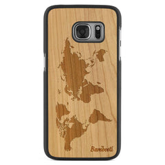 Galaxy S7 Wood Slim Case Cherry World Map