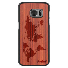 Galaxy S7 Wood Slim Case Padauk World Map