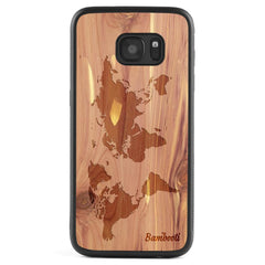 Galaxy S7 Wood Protective Case Cedar World Map