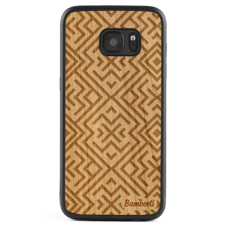 Galaxy S7 Wood Protective Case Cherry Aztec
