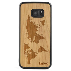 Galaxy S7 Wood Protective Case Cherry World Map