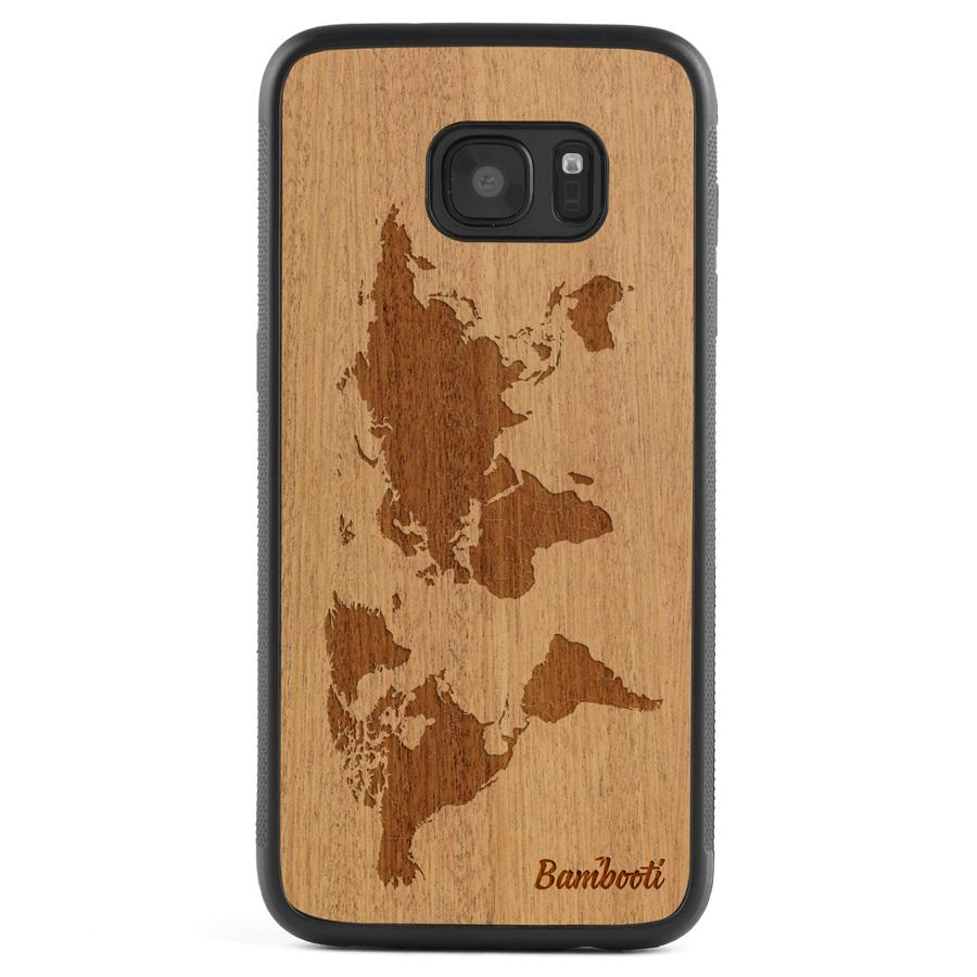 Galaxy S6 Wood Protective Case Mahogany World Map