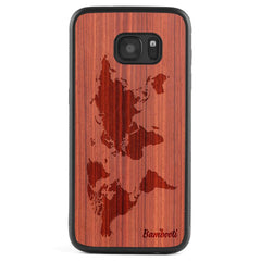 Galaxy S6 Wood Protective Case Padauk World Map