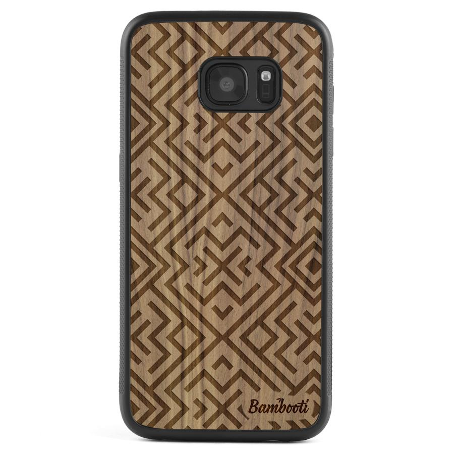 Galaxy S7 Wood Protective Case Walnut Aztec