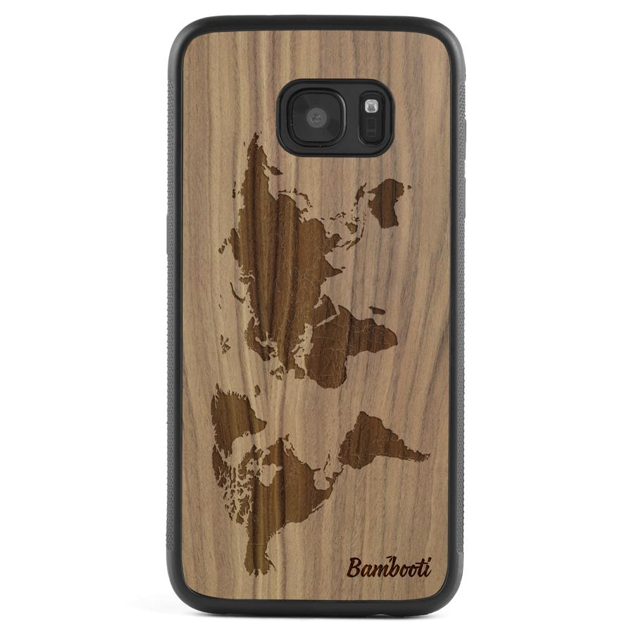 Galaxy S6 Wood Protective Case Walnut World Map